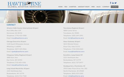 Screenshot of Contact Page hawthorne.aero - Contact, Hawthorne Corporation - captured July 23, 2017