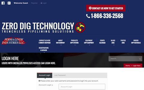 Screenshot of Login Page perma-liner.com - Login Here   Perma-Liner Industries LLC. - captured Jan. 27, 2016