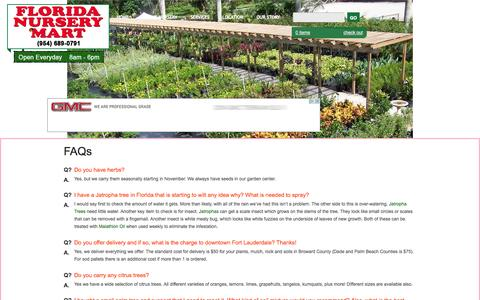 Screenshot of FAQ Page flnurserymart.com - Frequently Asked Landscaping Questions & Answers | Florida Nursery Mart - captured Oct. 6, 2014