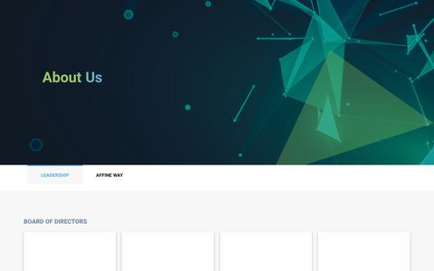 Screenshot of About Page affineanalytics.com - Affine - About - captured June 19, 2019