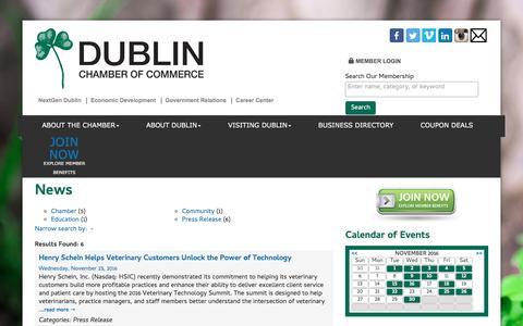 Screenshot of Press Page dublinchamber.org - News - Dublin Chamber of Commerce, OH - captured Nov. 24, 2016