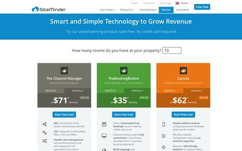 Screenshot of Pricing Page siteminder.com - Pricing - SiteMinder - captured June 21, 2016