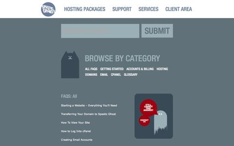 Screenshot of FAQ Page spasticghost.com - FAQs | Spastic Ghost | Web Hosting & Domains - captured Oct. 26, 2014