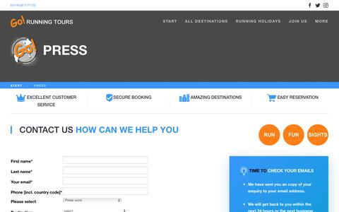 Screenshot of Press Page gorunningtours.com - Press contact - captured Dec. 5, 2017