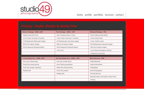 Screenshot of Services Page studio49.com.au - Studio 49 | Australian fashion photography, advertising, portraiture, events. - captured Oct. 9, 2014