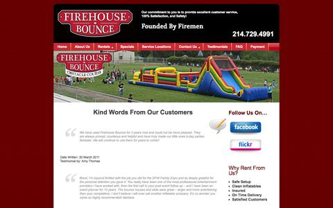 Screenshot of Testimonials Page firehousebounce.com - Kind Words From Our Customers  -  Firehouse Bounce - captured Sept. 30, 2014