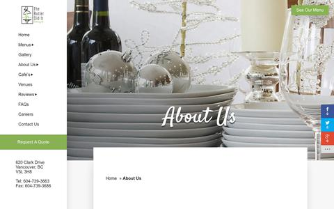 Screenshot of About Page butlerdiditcatering.com - Corporate & Event Catering Photos | Vancouver Area, Richmond, BC - captured Nov. 6, 2017