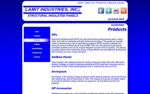 Screenshot of Products Page lamitindustries.com - Lamit Industries | Work Smarter, Build Better, Save More with Structural Insulated Panels (SIPs)-Products - captured Oct. 1, 2014