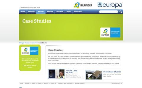 Screenshot of Case Studies Page europa-services.co.uk - Bilfinger Europa Services Case Studies - captured Sept. 19, 2014