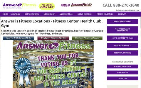 Screenshot of Contact Page Maps & Directions Page answerisfitness.com - Locations - captured Nov. 2, 2018