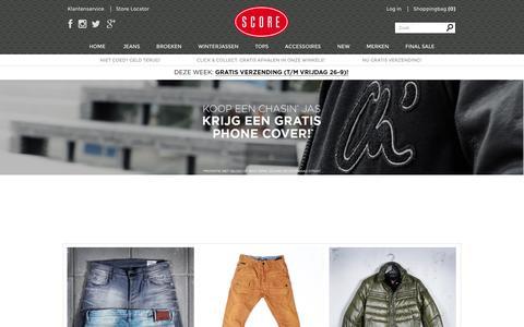 Screenshot of Home Page score.nl - Score - Herenkleding online | Dé Jeans Store voor mannen - captured Sept. 23, 2014