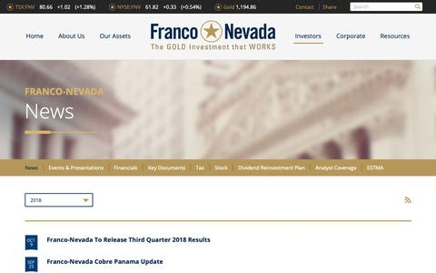 Screenshot of Press Page franco-nevada.com - Franco-Nevada Corporation - Investors - News - captured Oct. 11, 2018