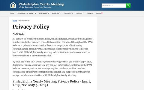 Screenshot of Privacy Page pym.org - Privacy Policy - Philadelphia Yearly Meeting - captured Sept. 28, 2018