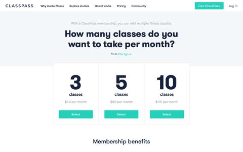 Screenshot of Pricing Page classpass.com - ClassPass - captured July 15, 2017