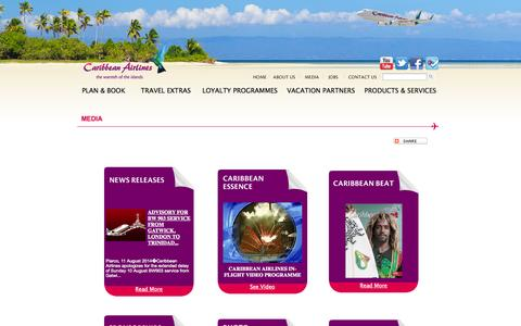 Screenshot of Press Page caribbean-airlines.com - Caribbean Airlines - Media - captured Sept. 18, 2014