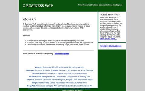 Screenshot of Home Page gbusinessvoip.com - G Business VoIP - captured Oct. 10, 2015