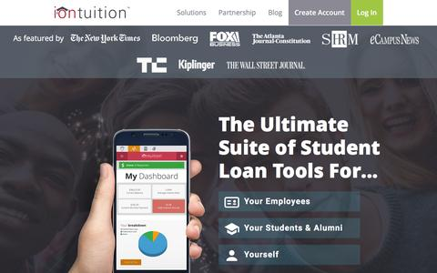 Screenshot of Home Page iontuition.com - iontuition | Student Loan Management | iontuition - captured March 8, 2016