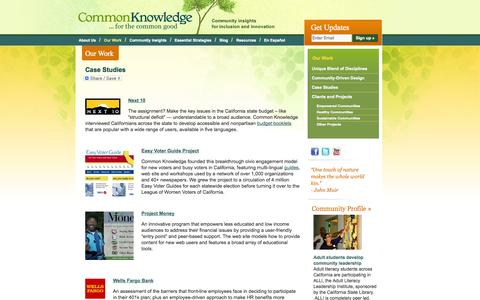 Screenshot of Case Studies Page ckgroup.org - Case Studies | Common Knowledge Group - captured Oct. 8, 2014