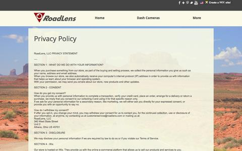Screenshot of Privacy Page roadlens.com - Roadlens Privacy Policy - captured June 15, 2017