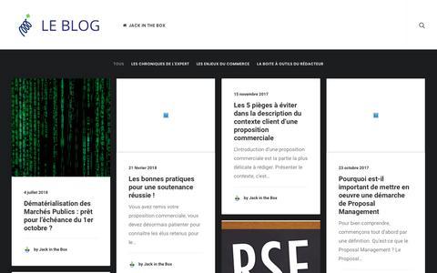 Screenshot of Blog jack-in-the-box.fr - Le Blog de Jack in the Box – L'expert français en Proposal Management - captured July 14, 2018