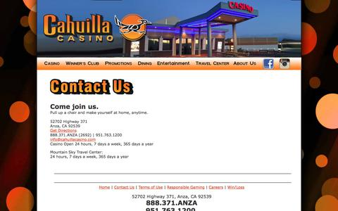 Screenshot of Contact Page cahuillacasino.com - Untitled Document - captured July 11, 2017