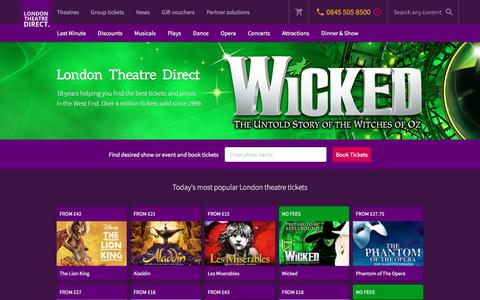 Screenshot of Home Page londontheatredirect.com - London Theatre Direct - Discount Theatre Tickets - captured June 21, 2017