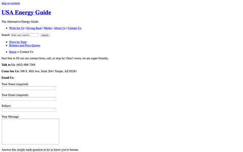 Screenshot of Contact Page usaenergyguide.com - Contact USA Energy Guide - The Alternative Energy Guide   USA Energy Guide - captured Oct. 2, 2014