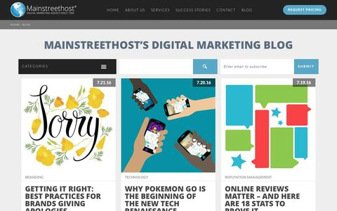 Screenshot of Blog mainstreethost.com - Mainstreethost's Digital Marketing Blog | Page 1 - captured July 22, 2016