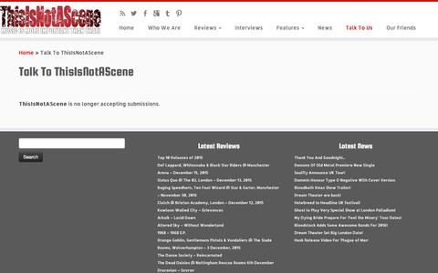 Screenshot of Contact Page thisisnotascene.com - Talk To Us - Music Reviews, Interviews & News - ThisIsNotAScene - captured Jan. 15, 2016