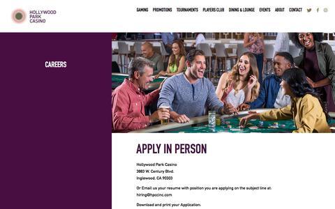 Screenshot of Jobs Page playhpc.com - Hollywood Park Casino • Careers - captured June 26, 2017