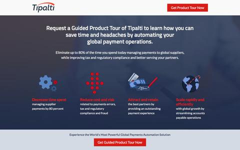 Screenshot of Landing Page tipalti.com captured April 21, 2016