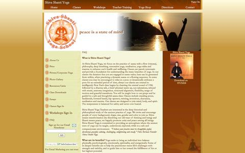 Screenshot of FAQ Page shivashantiyoga.com - Shiva Shanti Yoga School, 165 Park Ave Rutherford, NJ 07070 201.531.9642 - captured Oct. 9, 2014