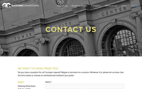 Screenshot of Contact Page gatewaydowntown.com - Contact Us — Gateway Church Downtown - captured Feb. 15, 2019