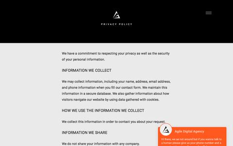 Screenshot of Privacy Page agiledigitalagency.com - Privacy Policy - Agile Digital Agency London - captured July 29, 2018