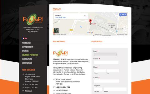 Screenshot of Contact Page proxipi.com - Solutions de Sécurité Dynamique - Contact | Proxipi - captured May 13, 2017