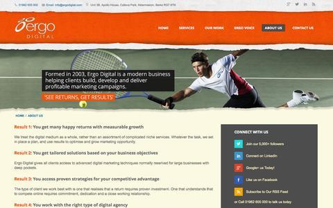 Screenshot of About Page ergodigital.com - Smart Internet Marketing on a Plate – Ergo Digital - captured Sept. 30, 2014