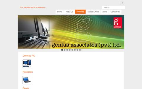 Screenshot of Products Page geniuslanka.com - Products - captured Oct. 2, 2014