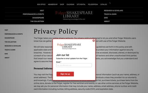 Screenshot of Privacy Page folger.edu - Privacy Policy | Folger Shakespeare Library - captured July 2, 2018