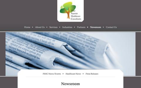 Screenshot of Press Page fshconline.com - Four Seasons Healthcare Consultants - Newsroom - captured Oct. 6, 2014