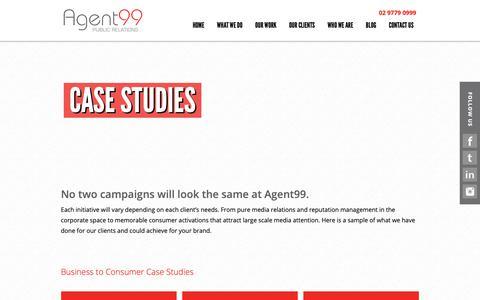 Screenshot of Case Studies Page agent99pr.com - Food, Travel, Wine & Restaurant PR Services in Sydney   Agent99 PR - captured Oct. 3, 2018