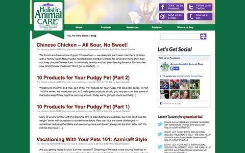 Screenshot of Blog azmira.com - Home - Azmira Holistic Animal Care - captured Oct. 4, 2014