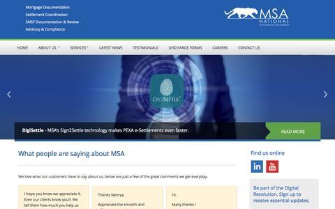 Screenshot of Testimonials Page msanational.com.au - MSA National - Testimonials - captured May 26, 2017