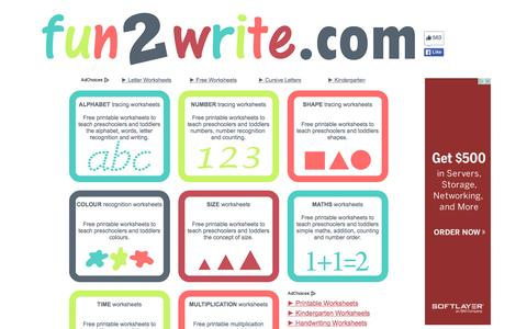 Screenshot of Home Page fun2write.com - fun2write.com - FREE educational worksheets - captured Oct. 17, 2015