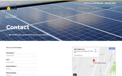 Screenshot of Contact Page ncsolarnow.com - Contact - NC Solar Now - captured Nov. 29, 2016