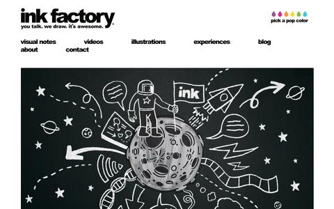 Screenshot of Home Page inkfactorystudio.com - Graphic Recording and Graphic Facilitation using Visual notes for meetings, conferences and events around the world. Chicago, Illinois - captured Oct. 11, 2018