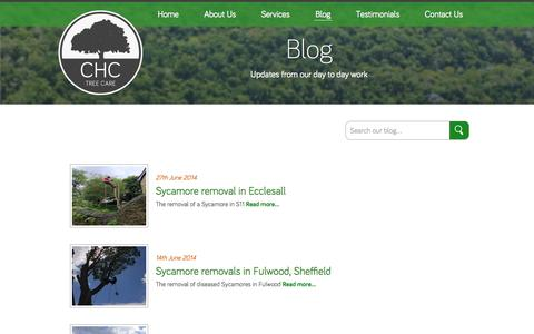 Screenshot of Blog chctreecare.co.uk - CHC Tree Care - Our Blog about working as a tree surgeon and trees - captured Sept. 26, 2014