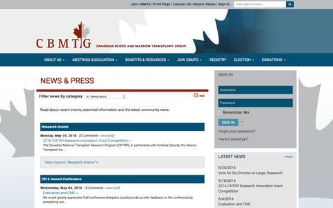 Screenshot of Press Page cbmtg.org - News & Press - CBMTG - captured June 11, 2016