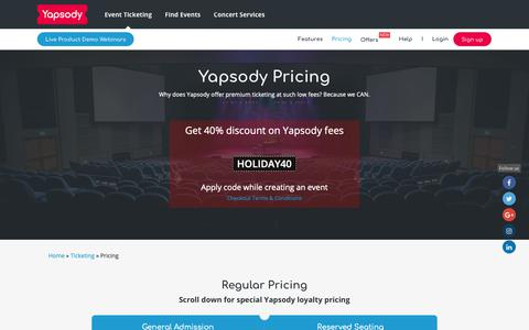 Screenshot of Pricing Page yapsody.com - Pricing | General Admission | Reserved Seating | Service Fee - Yapsody - captured Nov. 5, 2018