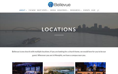 Screenshot of Locations Page bellevue.org - Bellevue Baptist Church   Our Locations - captured Oct. 10, 2017