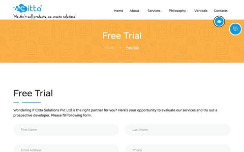 Screenshot of Trial Page cittasolutions.com - FreeTrial - captured July 14, 2018